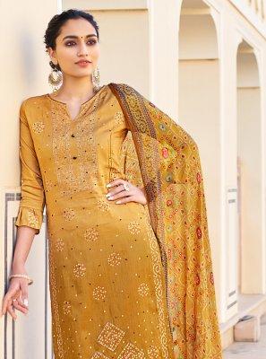 Fancy Fabric Printed Mustard Palazzo Designer Salwar Kameez