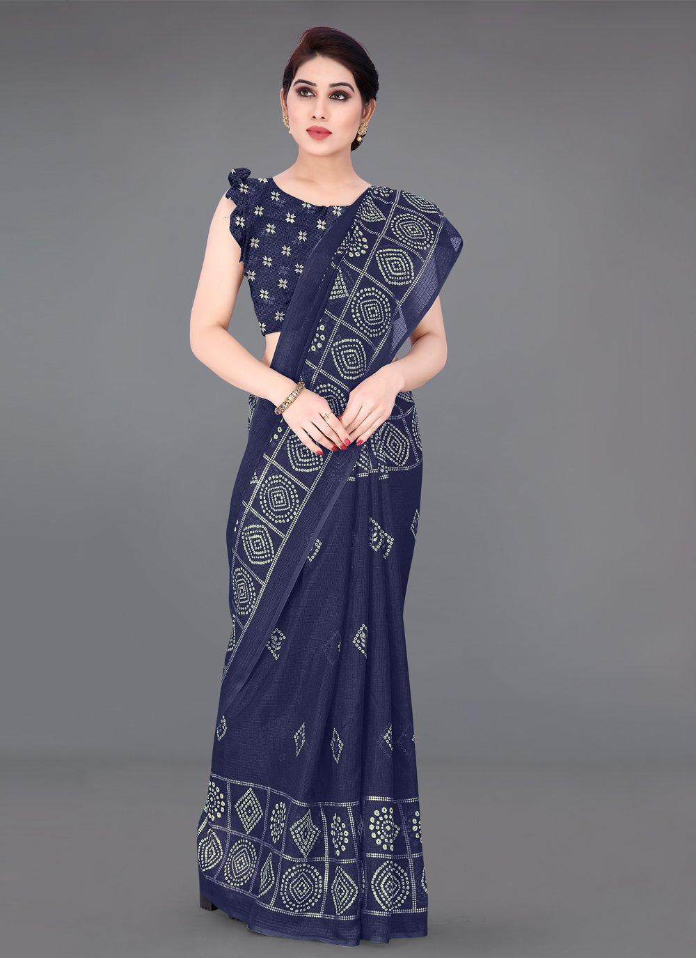 Fancy Fabric Printed Navy Blue Printed Saree