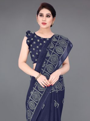 Fancy Fabric Printed Navy Blue Printed Saree