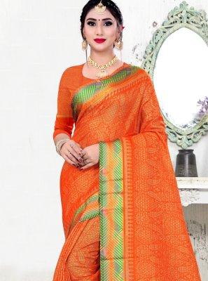 Fancy Fabric Printed Orange Classic Saree