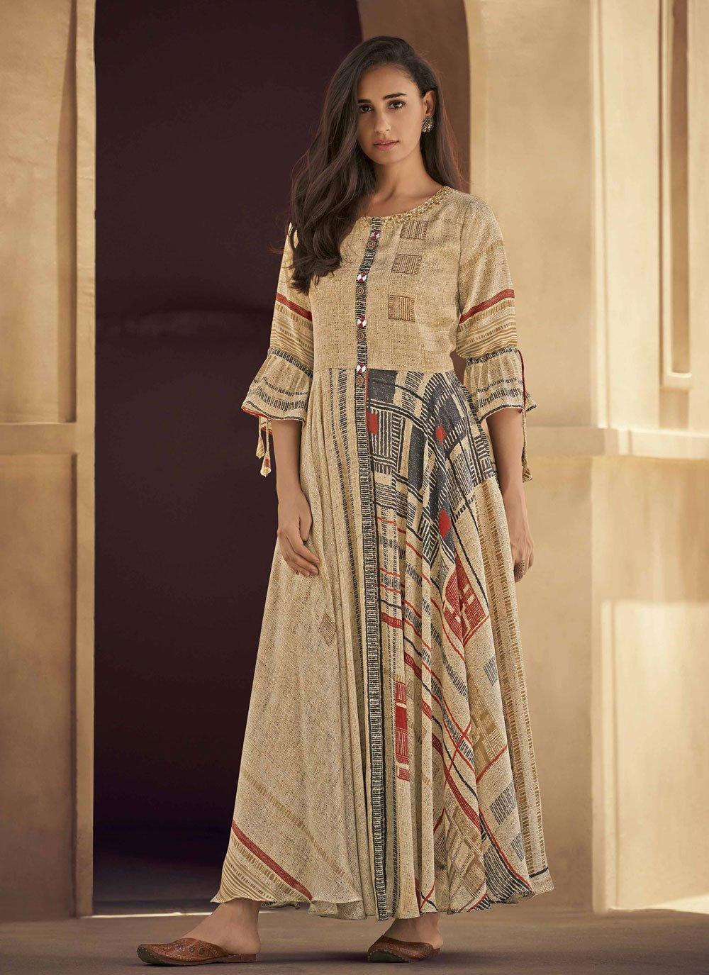 Fancy Fabric Printed Party Wear Kurti in Beige