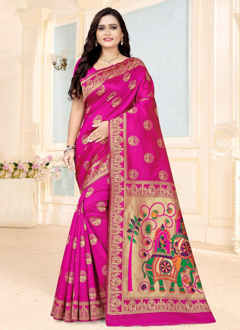Fancy Fabric Printed Pink Printed Saree