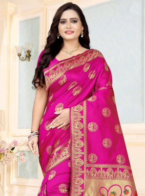 Fancy Fabric Printed Pink Printed Saree