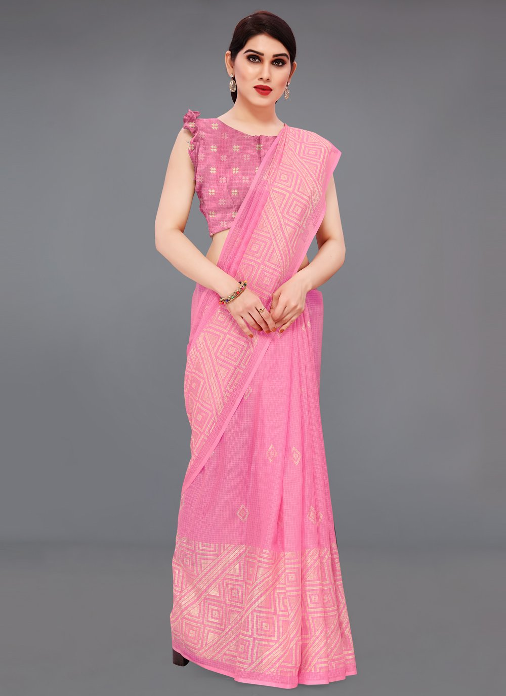 Fancy Fabric Printed Saree in Pink