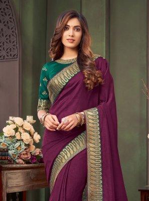 Fancy Fabric Purple Trendy Saree