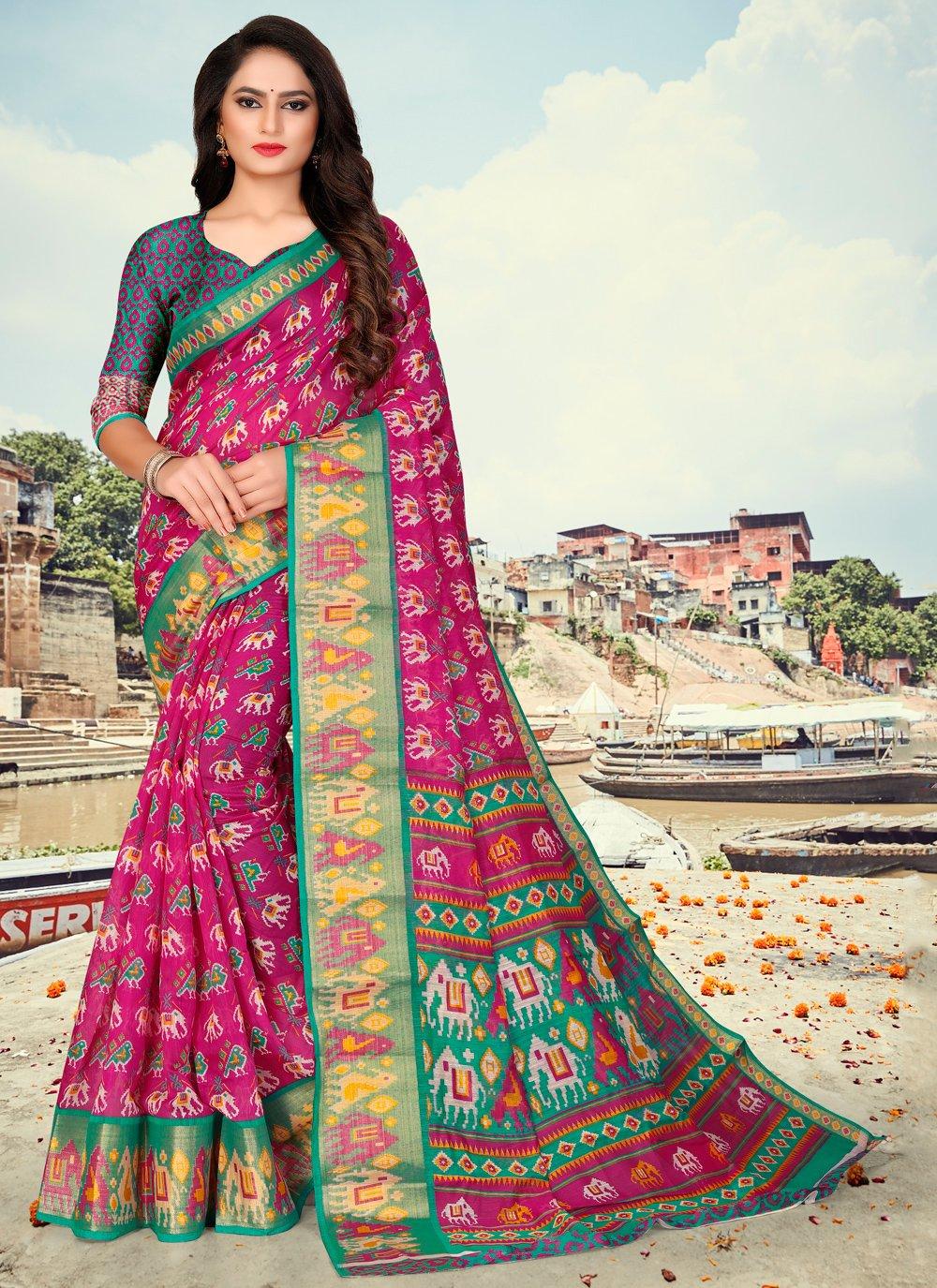 Fancy Fabric Rani Printed Printed Saree