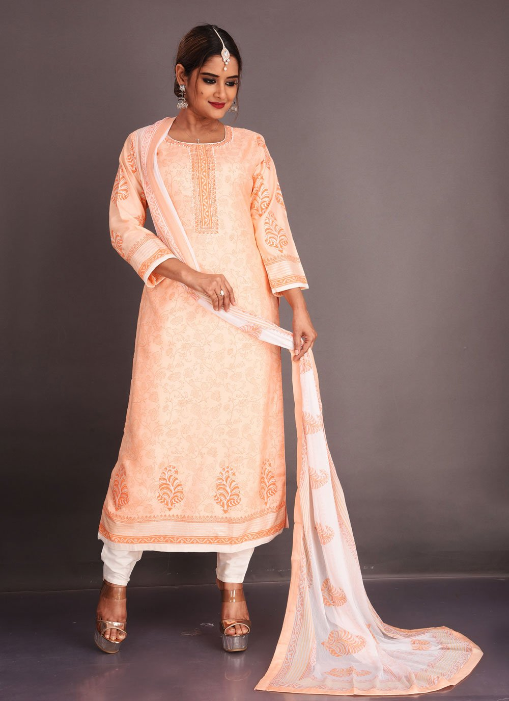 Fancy Fabric Readymade Suit in Peach