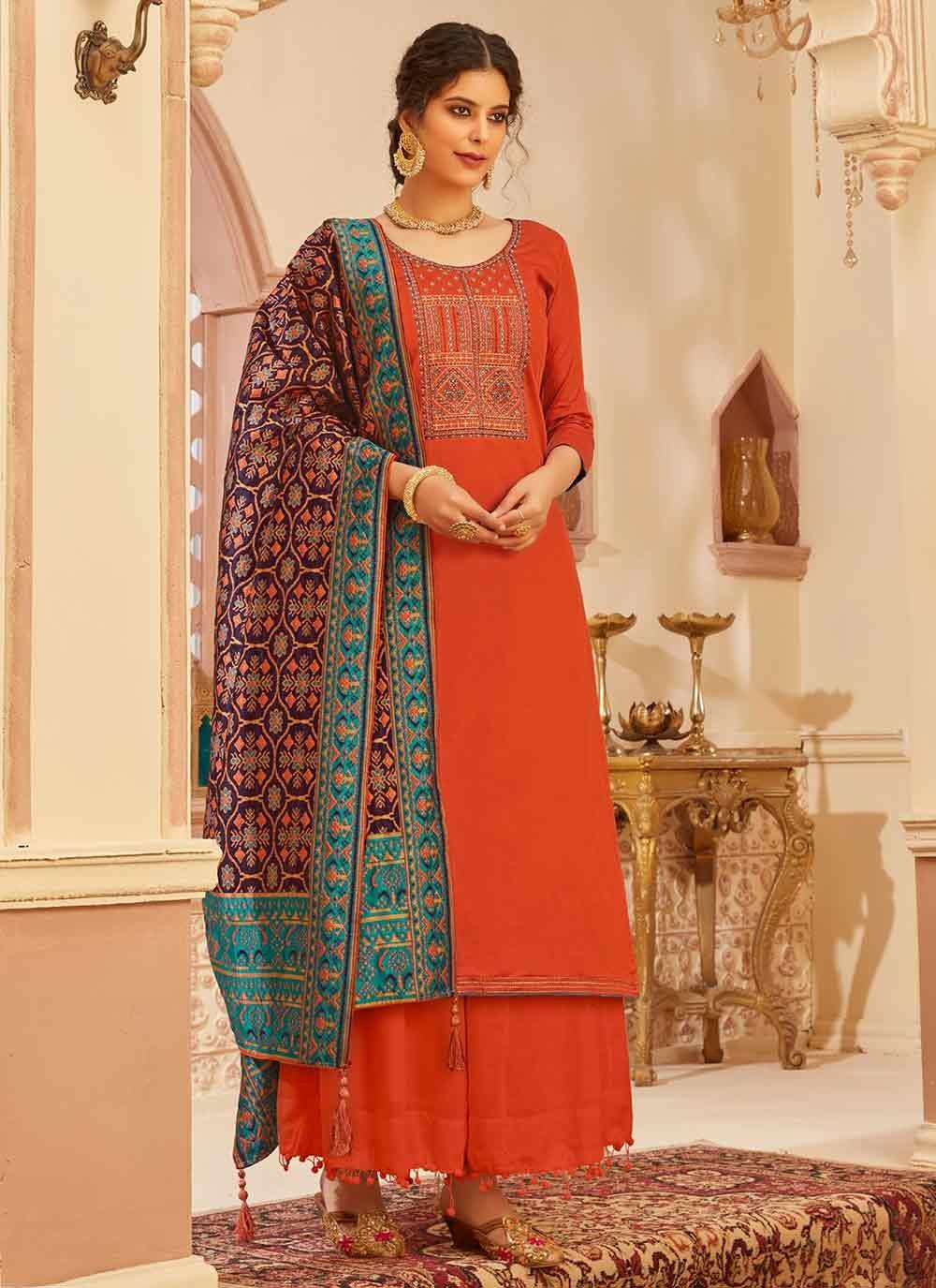 Fancy Fabric Red Designer Palazzo Suit