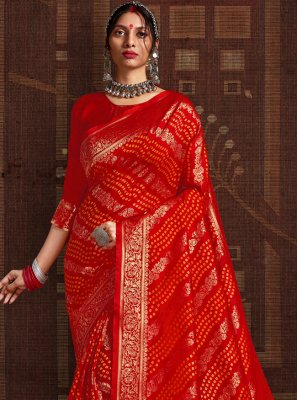 Fancy Fabric Red Fancy Traditional Designer Saree