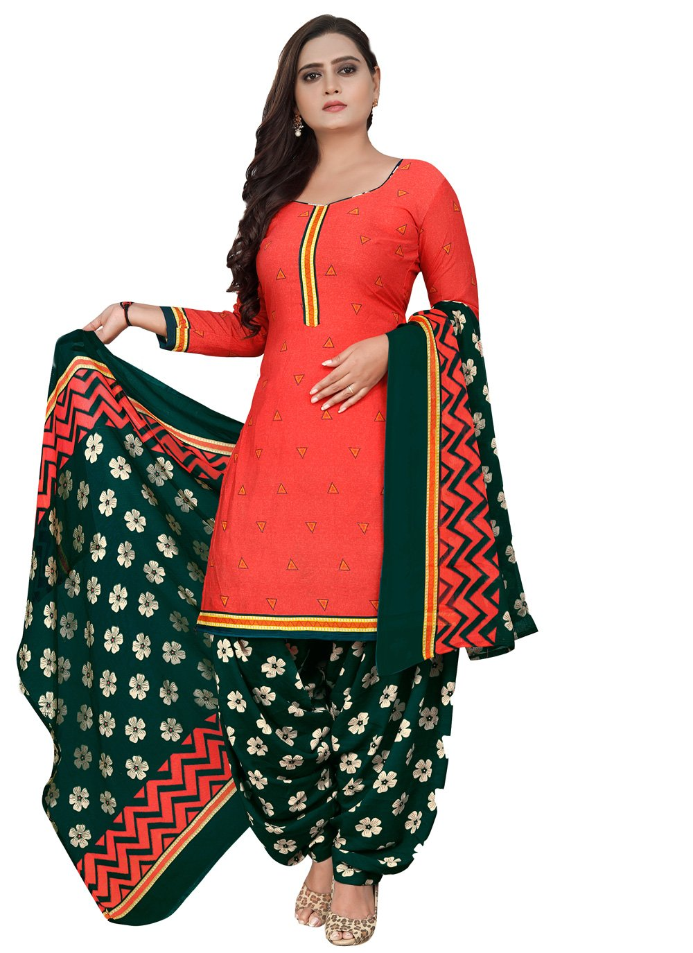 Fancy Fabric Red Patiala Suit