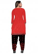 Fancy Fabric Red Printed Patiala Suit