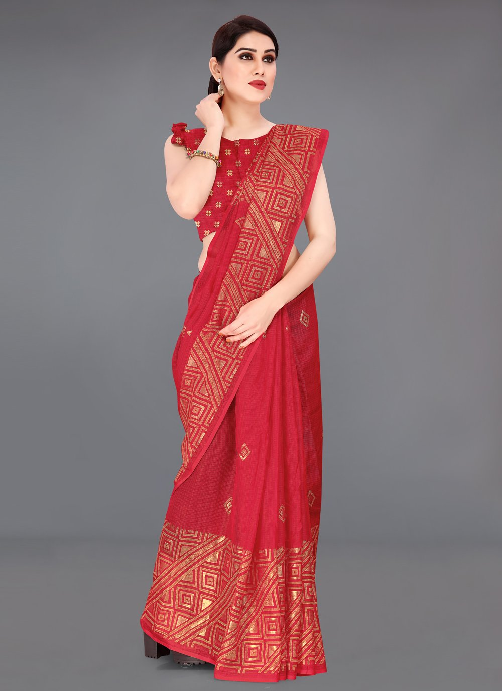 Fancy Fabric Red Printed Saree