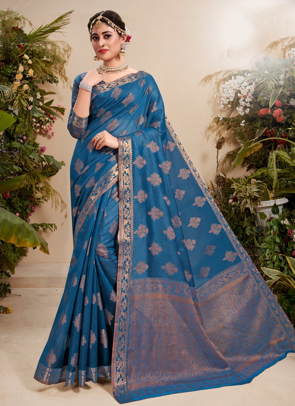 Fancy Fabric Resham Traditional Saree in Blue