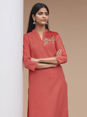 Fancy Fabric Rose Pink Embroidered Party Wear Kurti