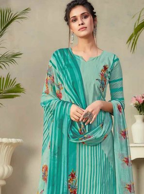 Fancy Fabric Sea Green Digital Print Designer Palazzo Salwar Suit