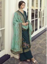 Fancy Fabric Teal Embroidered Designer Pakistani Salwar Suit
