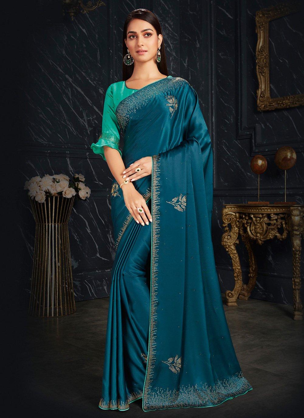 Fancy Fabric Teal Fancy Classic Designer Saree