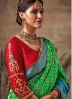 Fancy Fabric Traditional Designer Saree in Green