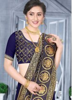 Fancy Fabric Traditional Designer Saree in Navy Blue