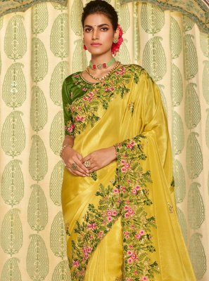 Fancy Fabric Traditional Designer Saree in Yellow