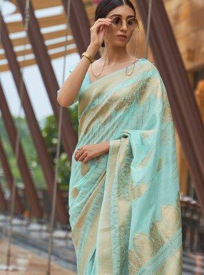 Fancy Fabric Weaving Aqua Blue Traditional Saree