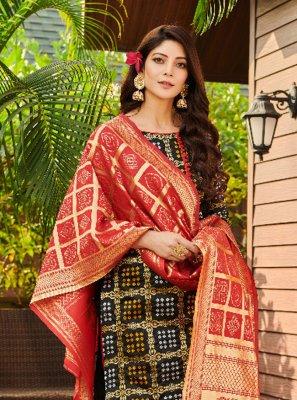Fancy Fabric Weaving Black Churidar Suit