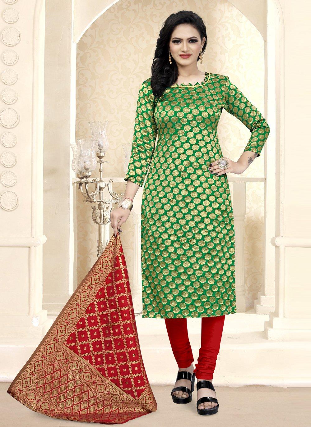 Fancy Fabric Weaving Churidar Suit