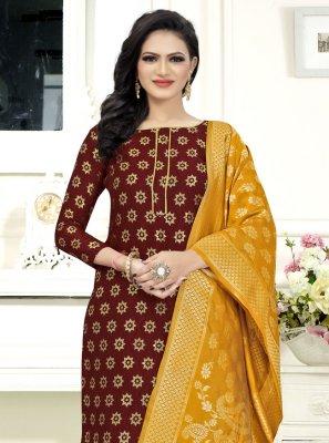 Fancy Fabric Weaving Churidar Suit in Maroon