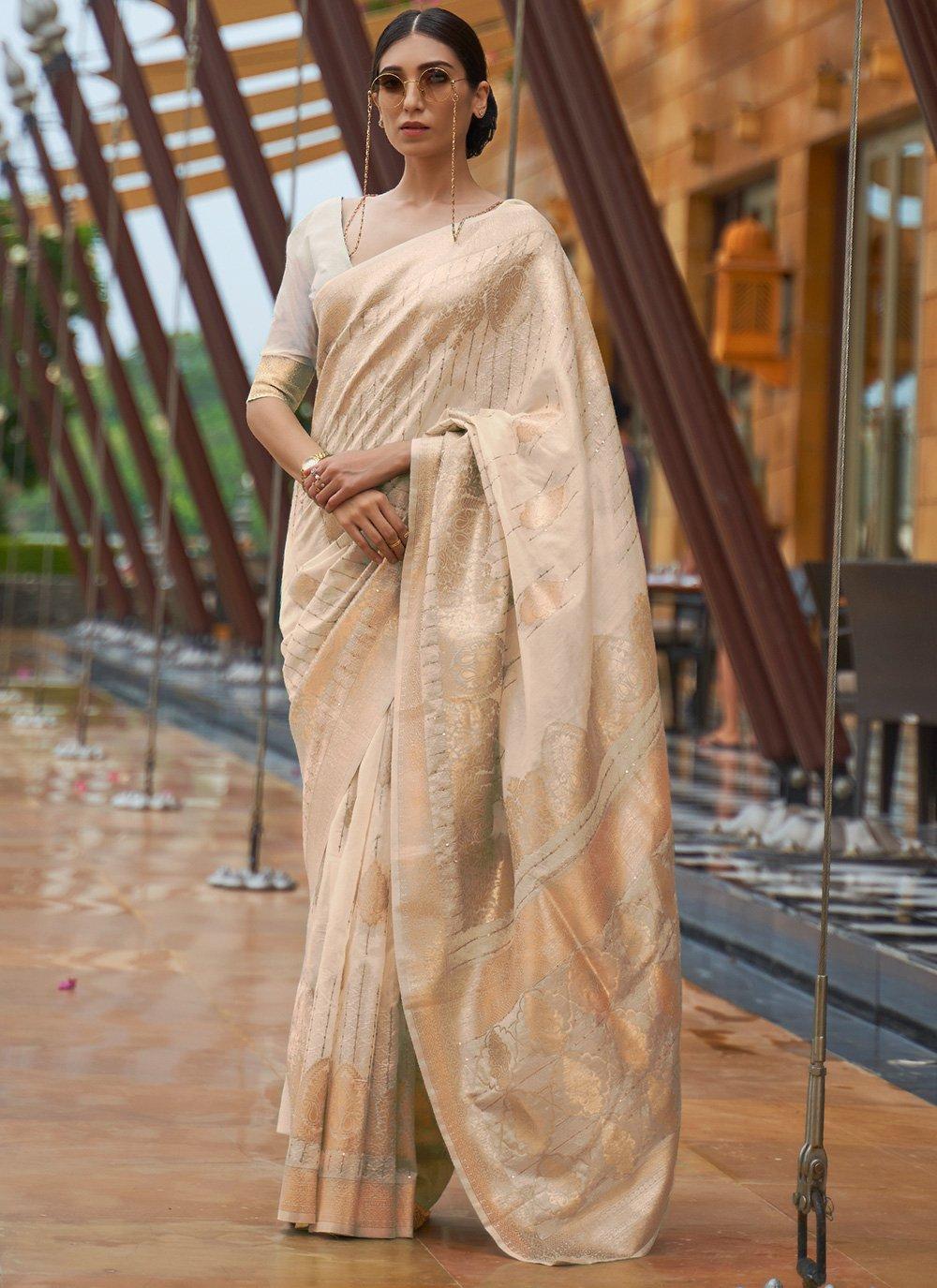 Fancy Fabric Weaving Designer Traditional Saree in Beige