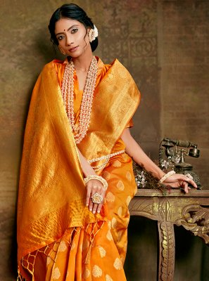 Fancy Fabric Weaving Mustard Designer Traditional Saree