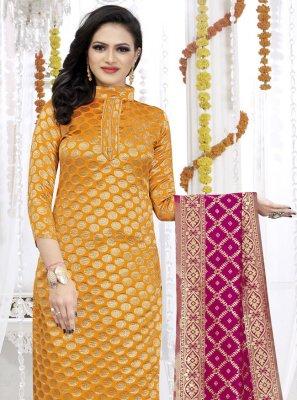Fancy Fabric Weaving Yellow Churidar Suit