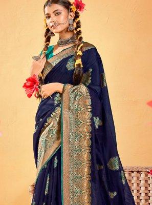 Fancy Fabric Woven Navy Blue Classic Designer Saree