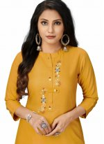 Fancy Fabric Yellow Embroidered Party Wear Kurti