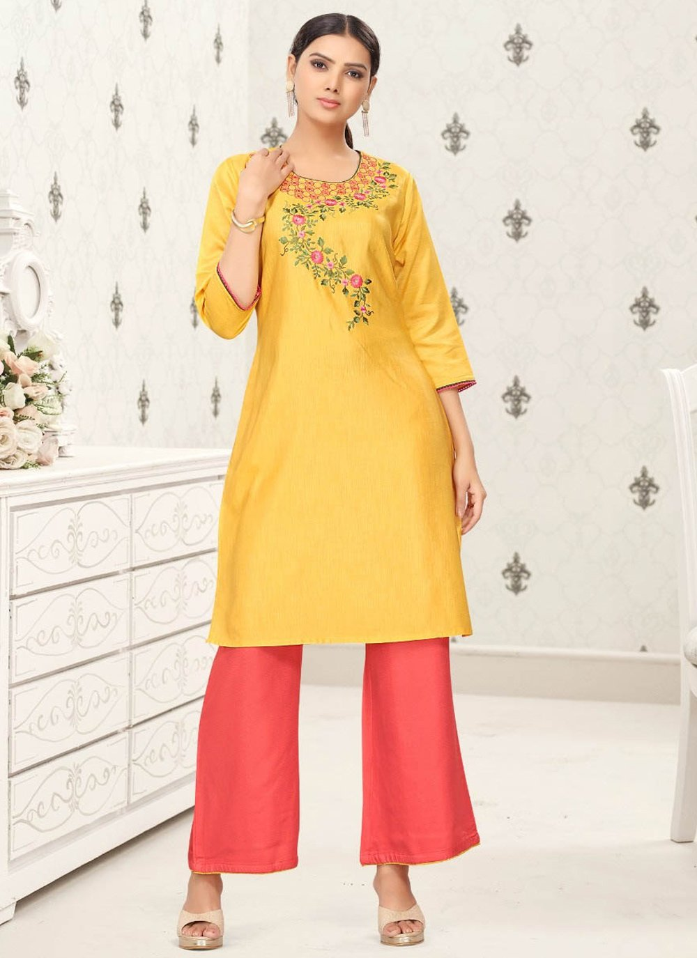 Fancy Fabric Yellow Party Wear Kurti
