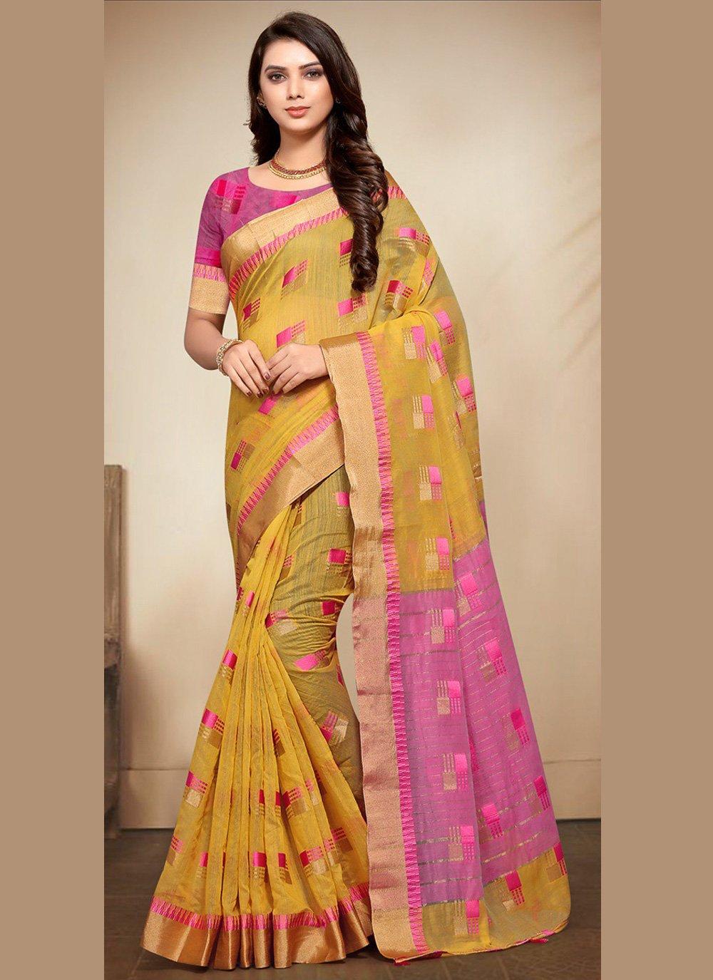 Fancy Fabric Yellow Woven Classic Saree