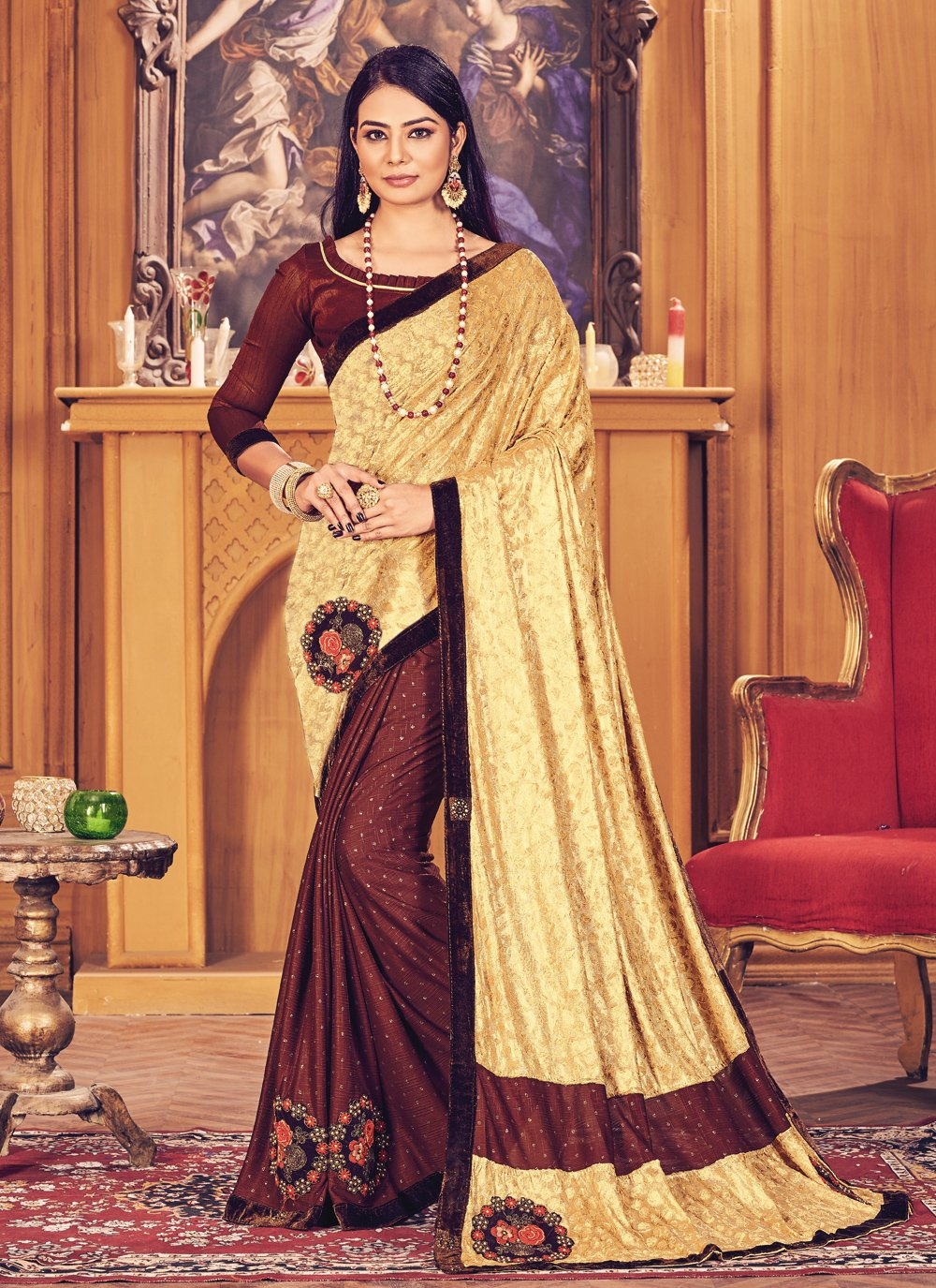 Fancy Fancy Fabric Designer Half N Half Saree in Brown and Gold