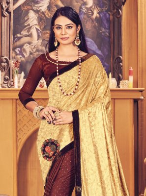 Fancy Fancy Fabric Designer Half N Half Saree in Brown and Gold