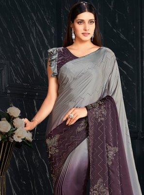 Fancy Fabric Grey and Purple Shaded Saree