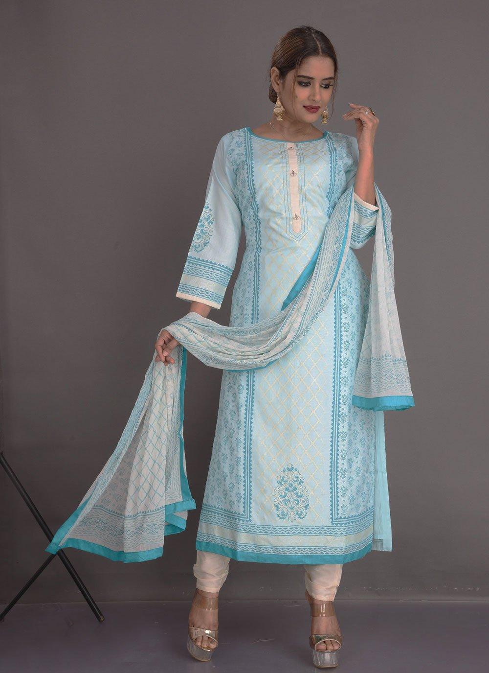 Fancy Fancy Fabric Readymade Suit in Blue