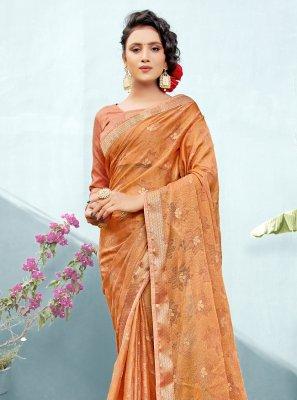 Fancy Faux Chiffon Classic Saree in Peach