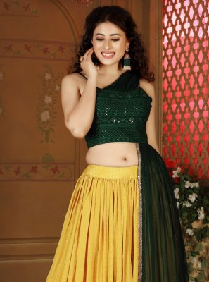 Fancy Faux Chiffon Green and Yellow Readymade Lehenga Choli