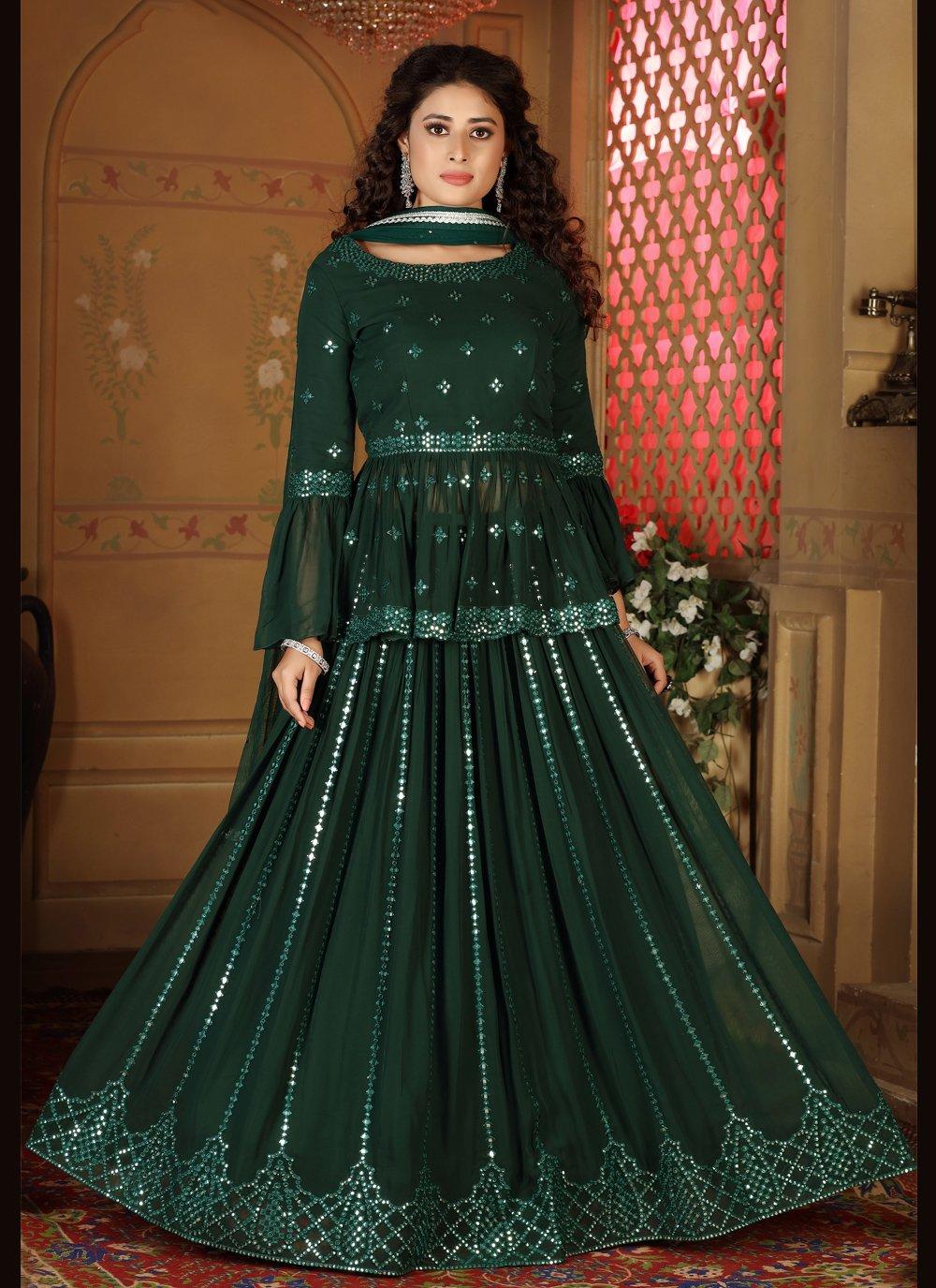 Fancy Faux Georgette Green Readymade Lehenga Choli