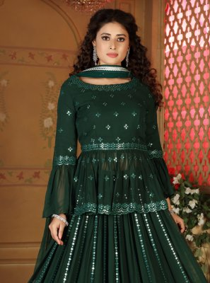 Fancy Faux Georgette Green Readymade Lehenga Choli