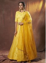 Fancy Faux Georgette Lehenga Choli in Yellow