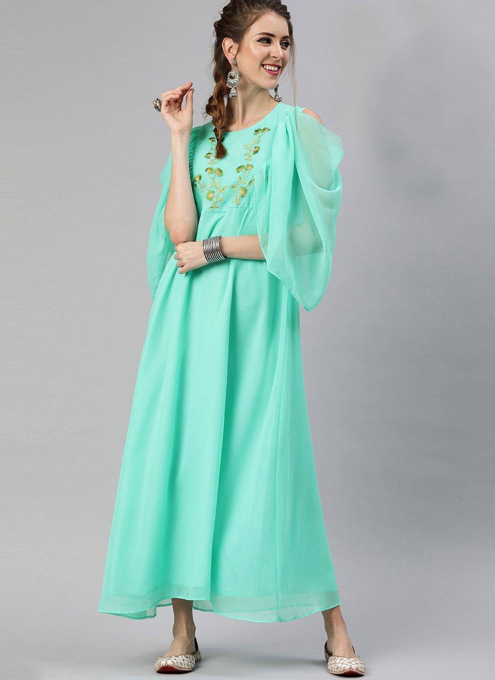 Fancy Faux Georgette Party Wear Kurti in Sea Green