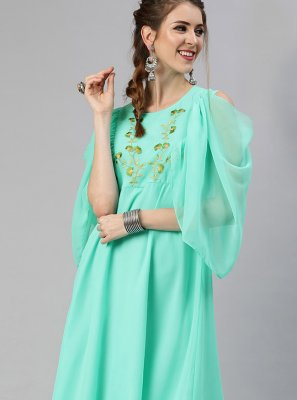 Fancy Faux Georgette Party Wear Kurti in Sea Green