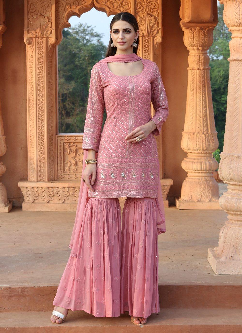 Fancy Faux Georgette Readymade Suit in Pink