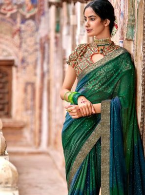 Fancy Georgette Classic Designer Saree in Blue and Green