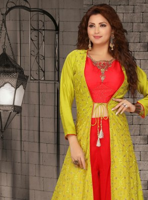Fancy Georgette Green and Red Readymade Suit