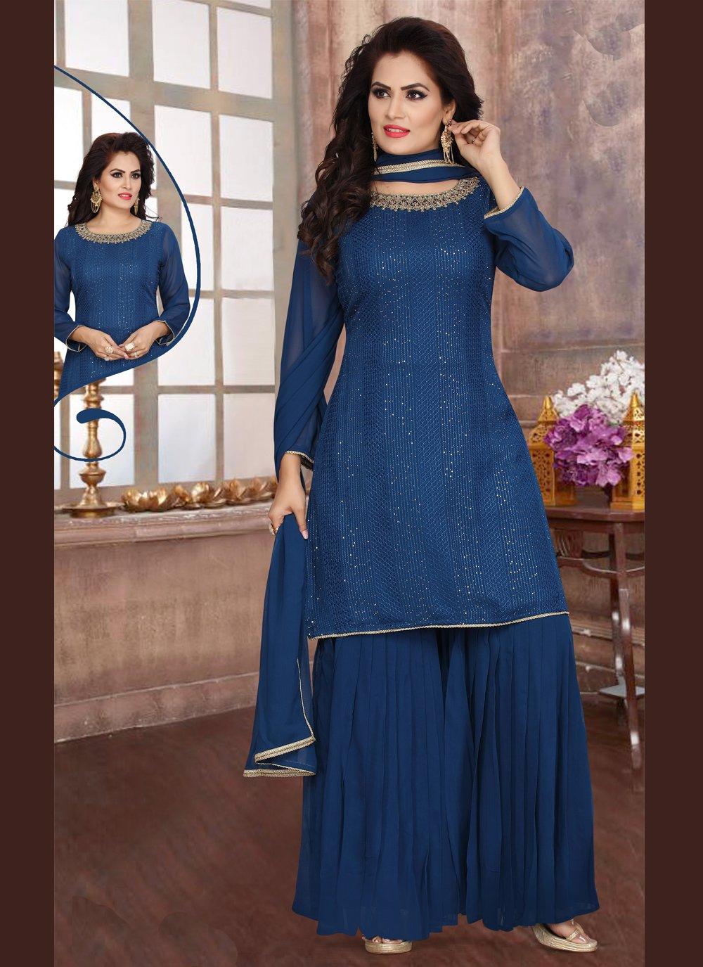 Fancy Georgette Readymade Suit in Blue
